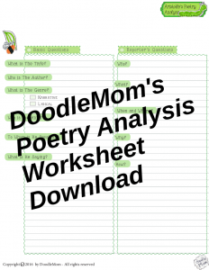 DoodleMoms Poetry Analysis Worksheets