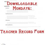Teacher Record - blank