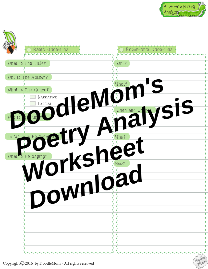 Poetry Analysis Sheets To Download Thoughts On Summer Planning